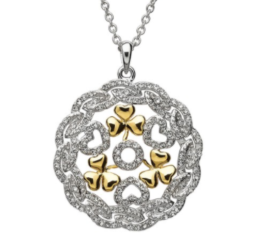 Sterling Silver Pendant with Gold Shamrocks and Swarovski Crystal
