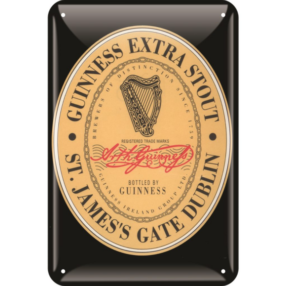 Heritage Label Metal Guinness Pub Sign