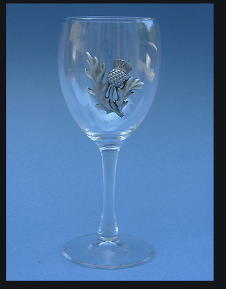 Wine Glass with Pewter Accent