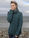 Super Soft Merino Chunky Cable Cowl Neck Aran Sweater