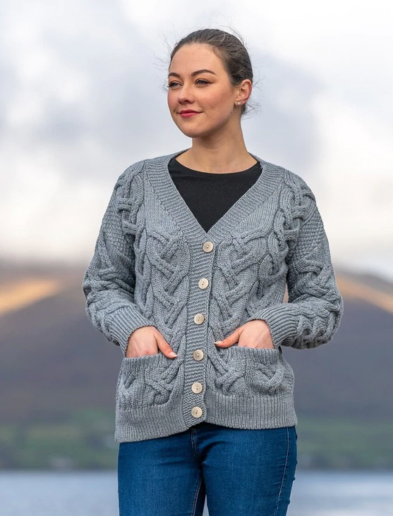 Super Soft Merino Wool Chunky Cable Knit Cardigan