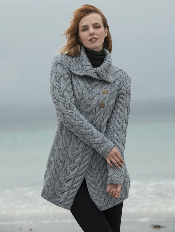 Super Soft Merino 3 Button Long Aran Cardigan