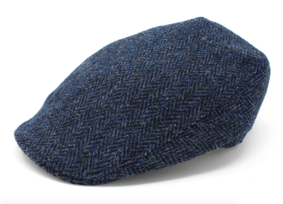 Classic Blue & Black Herringbone Tweed Donegal Touring Cap