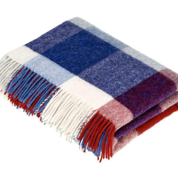 Rome Red/Blue Pure New Wool Throw