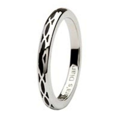 Black Enamel Helix Silver Stacking Ring