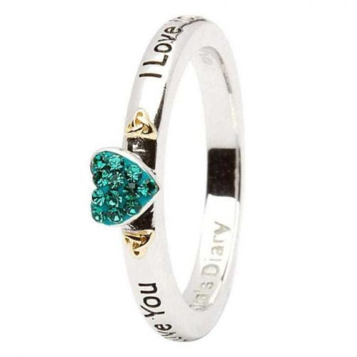 Green Heart I Love You Silver Stacking Ring