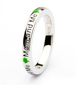 Mom and Me Shamrock Silver Stacking Ring