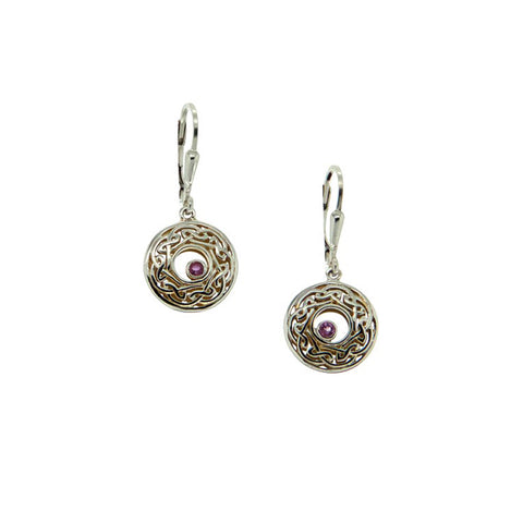 Gilded Window to the Soul Round Earrings with Rhodite Garnet