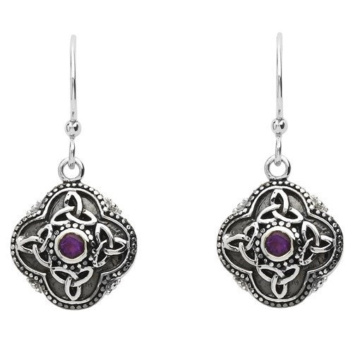 Amethyst Celtic Drop Earrings