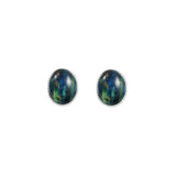 Oval Stud Silver Earrings