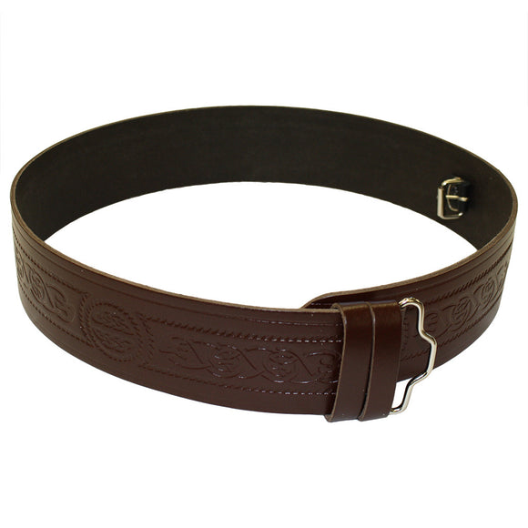 Celtic Serpent Embossed Brown Leather Kilt Belt