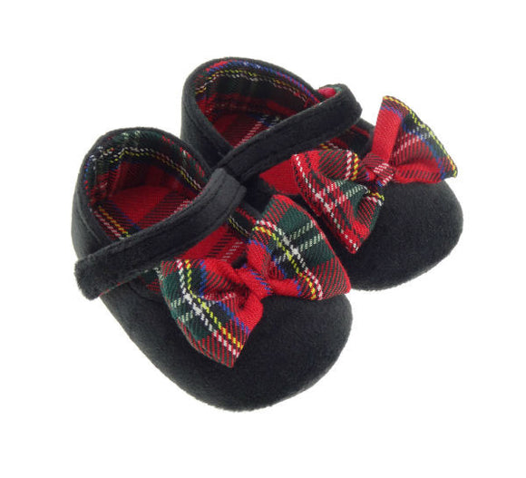 Black Velour Shoes with Tartan Bow