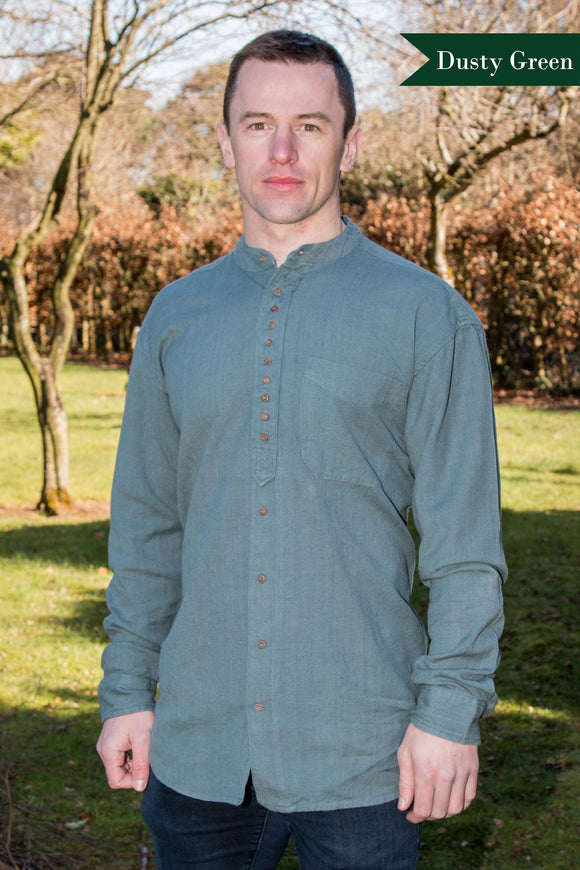 Civilian Cotton Retro Irish Shirt - Dusty Green