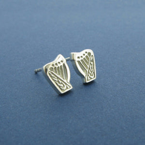 Celtic Harp Small Stud Earrings