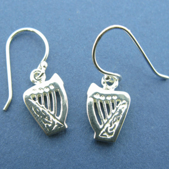 Celtic Harp Small Drop Earrings