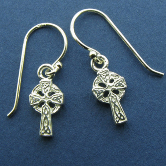 Celtic Cross Small Drop Earrings