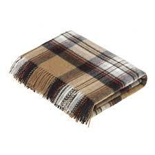 Camel Stewart Tartan Pure New Wool Throw