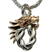 S/sil + 10k Dragon Head Oval Pendant