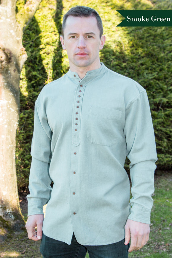 Civilian Cotton Retro Irish Shirt - Smoke Green