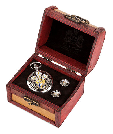 Enamelled Feathers Quartz Pocket Watch and Cufflinks in Trunk