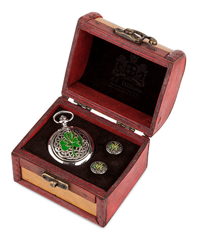 Enamelled Shamrock Quartz Pocket Watch and Cufflinks in Trunk