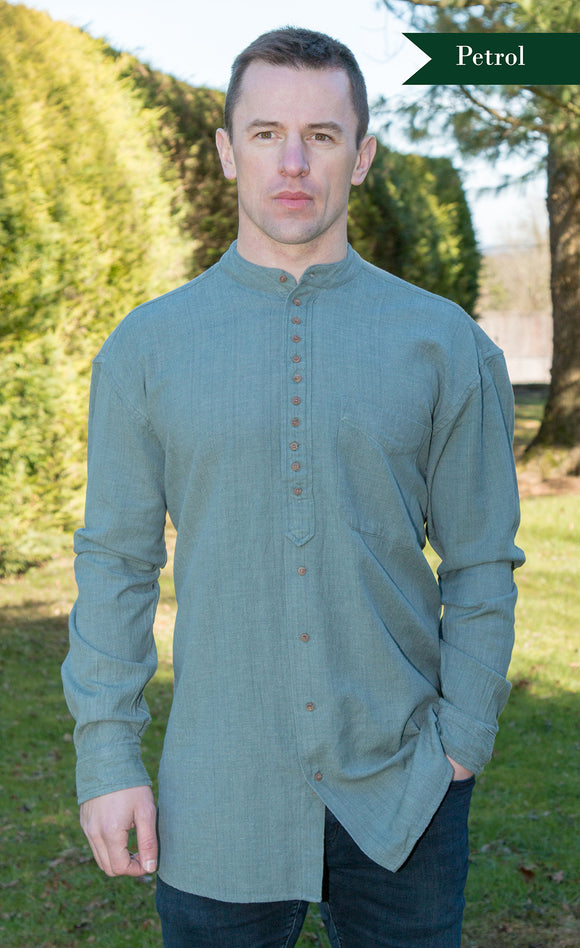 Civilian Cotton Retro Irish Shirt - Petrol