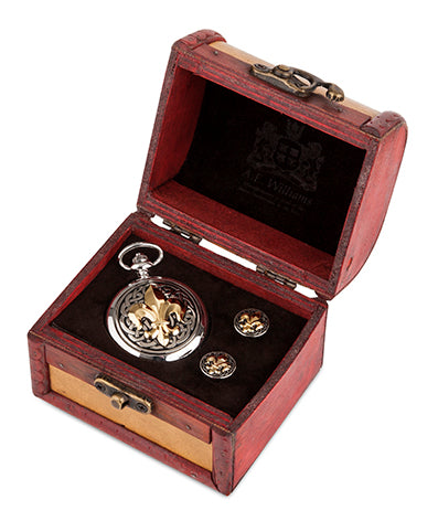 Fleur De Lis Quartz Pocket Watch and Cufflinks in Trunk