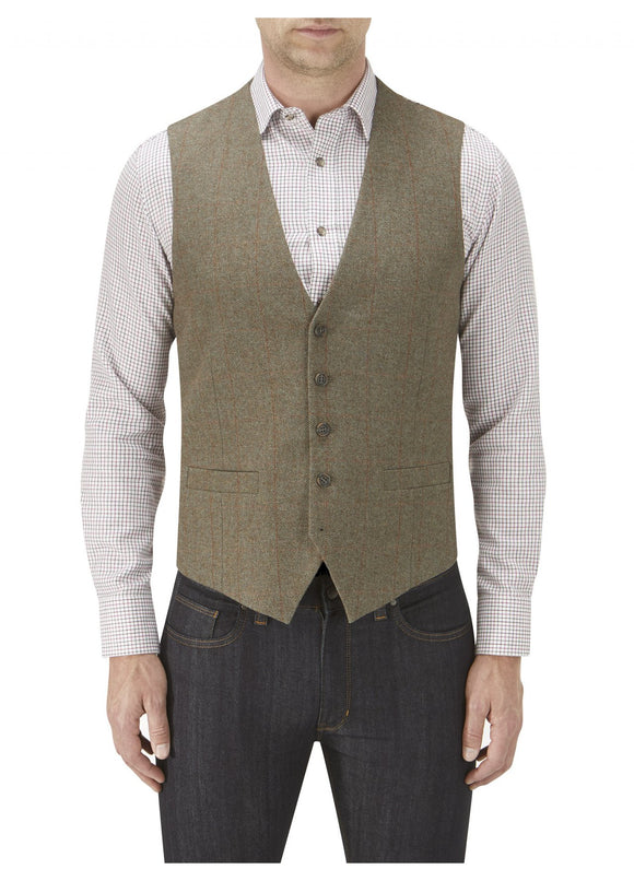 Burns Sage Check Tweed Waist Coat