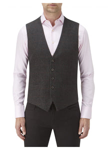 Burns Charcoal Check Tweed Waist Coat