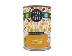 Free & Easy Organic Butternut Squash, Sweet Potato & Turmeric Soup