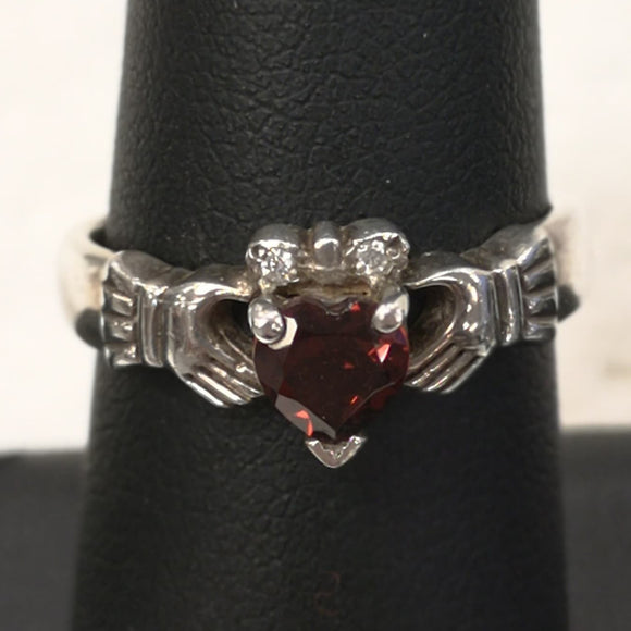 Silver Claddagh with Garnet Stone and 0.02CT Diamonds