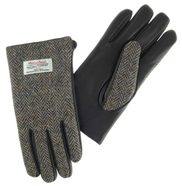 Gents Black Leather & Tweed Gloves