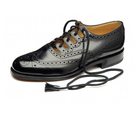 Black Leather Ghillie Brogues