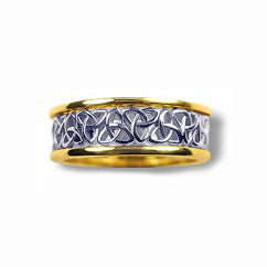 Silver and 10k Yellow Gold Narrow Trinity Knot Band