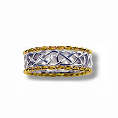 Silver and 10k Yellow Gold Narrow Infinity Knot Weave Band