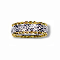 Silver and 10k Yellow Gold Narrow Trinity Knot Weave Band