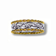Silver and 10k Yellow Gold Narrow Eternity Knot Weave Band