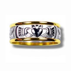 Silver and 10k Yellow Gold Narrow Claddagh Band