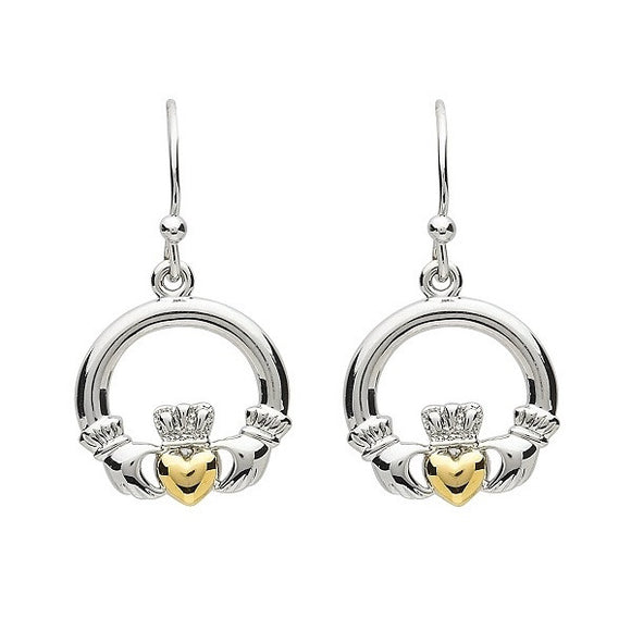 PlatinumWare Claddagh Gold Heart Earrings