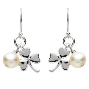 PlatinumWare Small Shamrock and Pearl Earrings