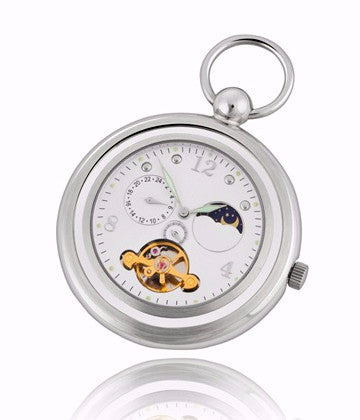 Sun and Moon Mechanical Pocket Watch