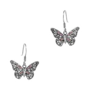Butterfly Silver Drop Earrings with Purple Stone Setting