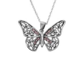 Butterfly Silver Pendant with Purple Stone Setting