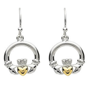 PlatinumWare Gold Heart Claddagh Earrings