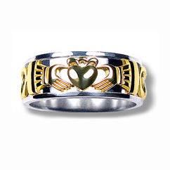 Silver and 10k Yellow Gold Wide Claddagh Band