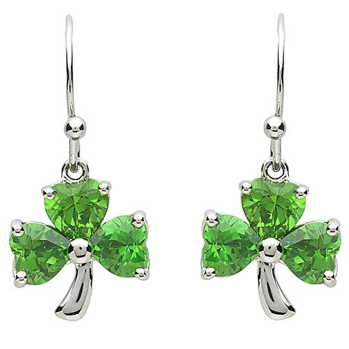 PlatinumWare Green Stone Shamrock Earrings