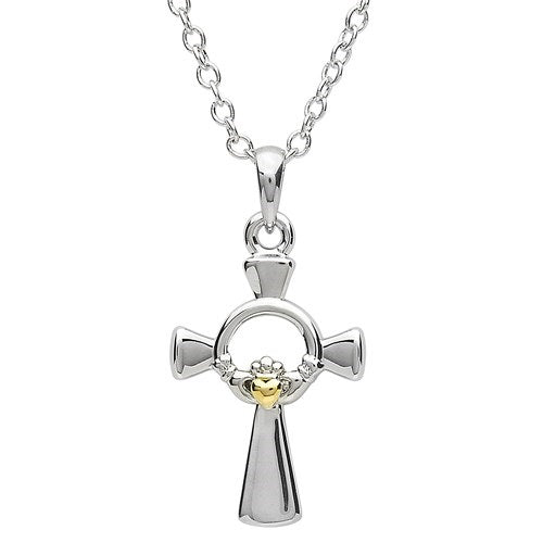 PlatinumWare Gold Heart Claddagh Cross Pendant