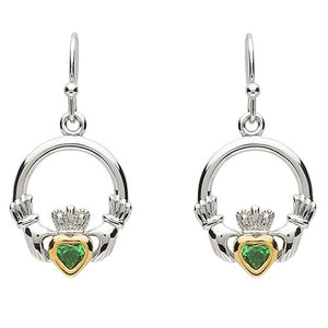 PlatinumWare Green Stone Claddagh Earrings