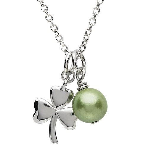 PlatinumWare Small Shamrock and Green Pearl Pendant