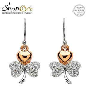 Shamrock White Crystal Earrings